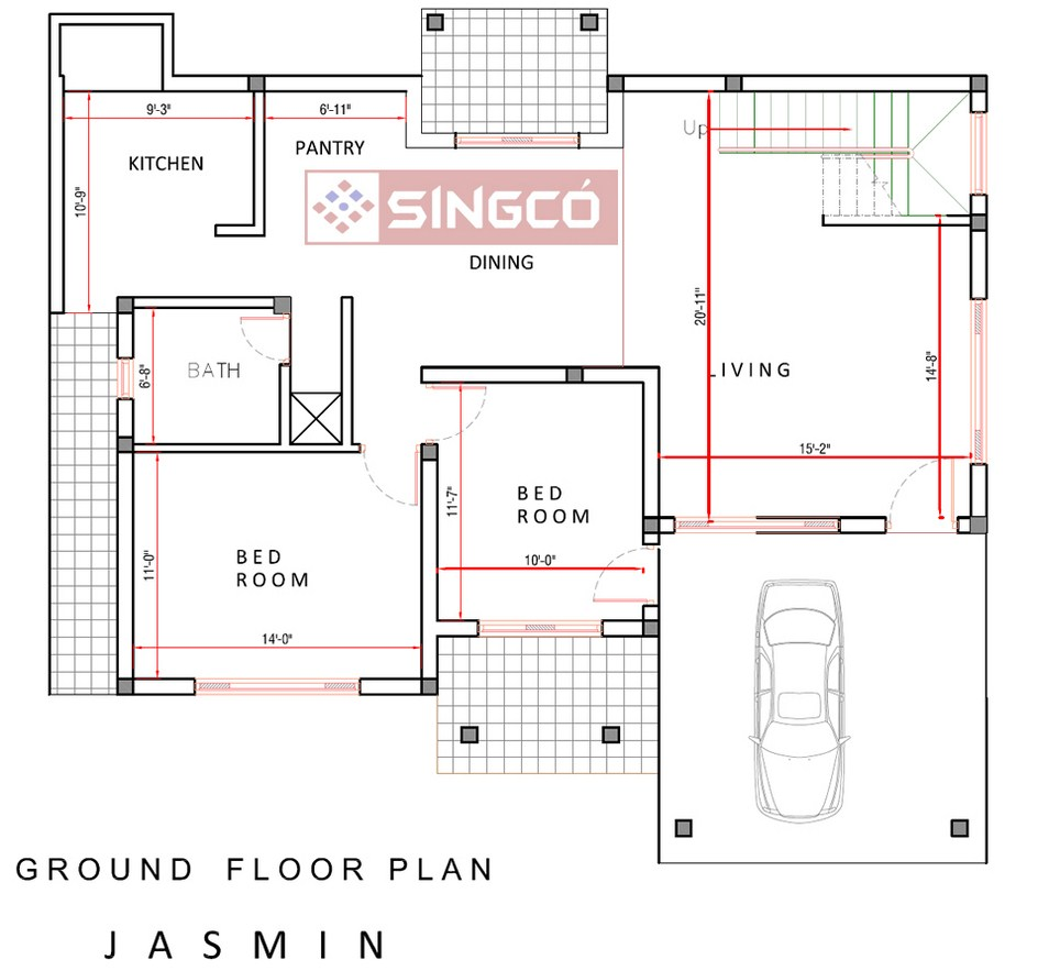 Jasmin plan singco engineering dafodil model house for House floor plan design